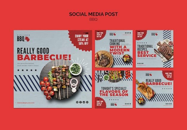 Modelo de postagem de mídia social para churrasco Psd grátis