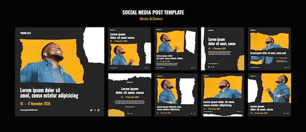 Modelo de postagem de mídia social para eventos de música e dança Psd Premium