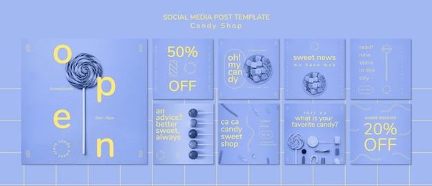Modelo de postagem de mídia social para loja de doces Psd grátis