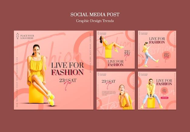 Modelo de postagem de mídia social para loja de moda Psd grátis