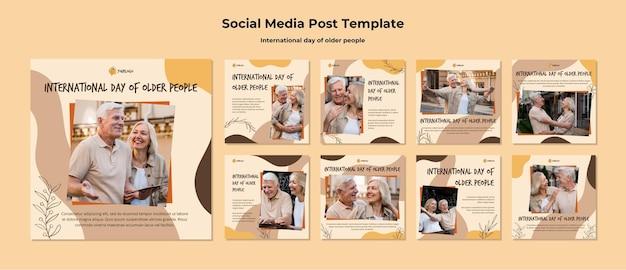 Modelo de postagem de mídia social para o dia internacional do idoso Psd Premium