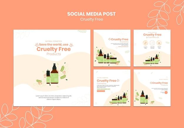 Modelo de postagem de mídia social para produtos livres de crueldade Psd grátis