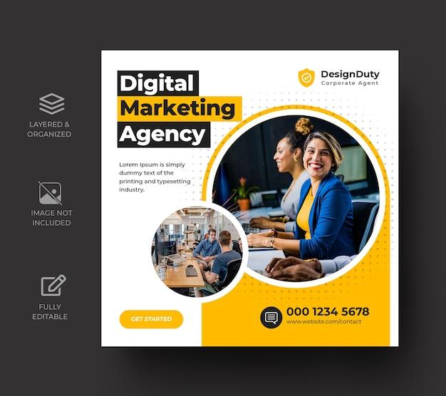 Modelo de postagem de mídia social para promoção de marketing de negócios digitais Psd Premium
