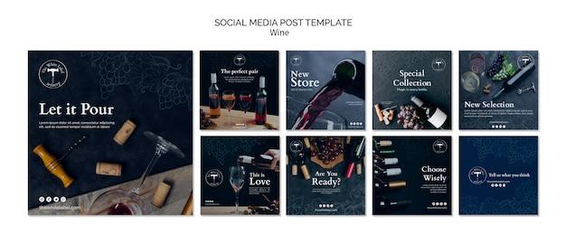 Modelo de postagem de mídias sociais da loja de vinhos Psd grátis
