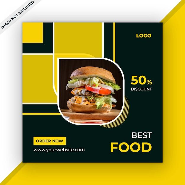 Modelo de postagem de mídias sociais de alimentos Psd Premium