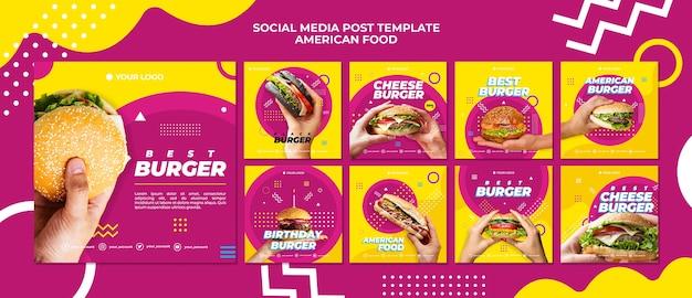 Modelo de postagem de mídias sociais de comida americana Psd grátis