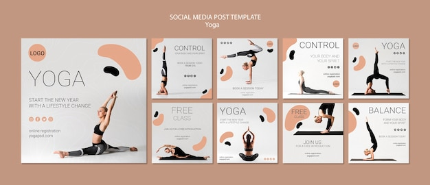 Modelo de postagem de mídias sociais de ioga Psd grátis