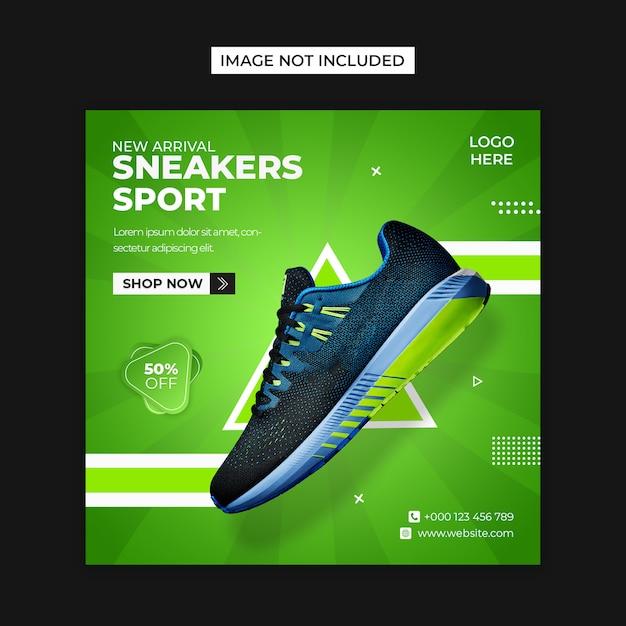 Modelo de postagem de mídias sociais de sapatos de esporte e instagram Psd Premium