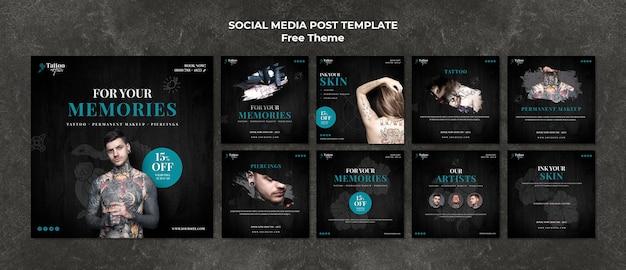 Modelo de postagem de mídias sociais de tatuagem Psd grátis