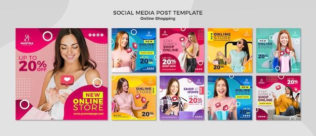 Modelo de postagem de mídias sociais do conceito de compras online Psd Premium