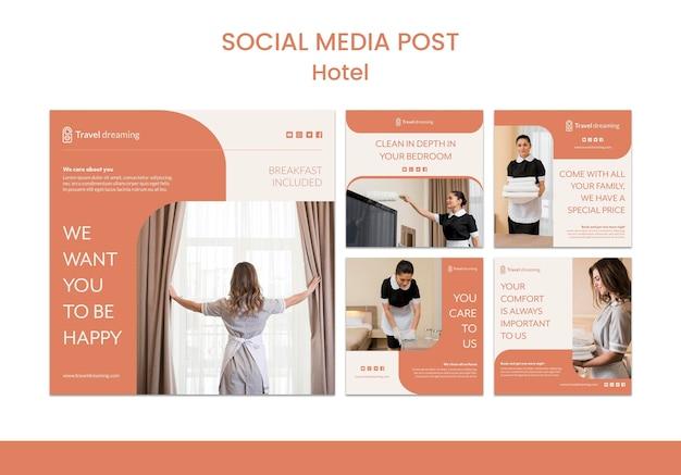 Modelo de postagem de mídias sociais do hotel Psd grátis