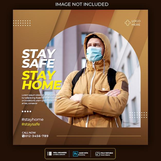Modelo de postagem de quadrado de mídia social de aviso de vírus Psd Premium