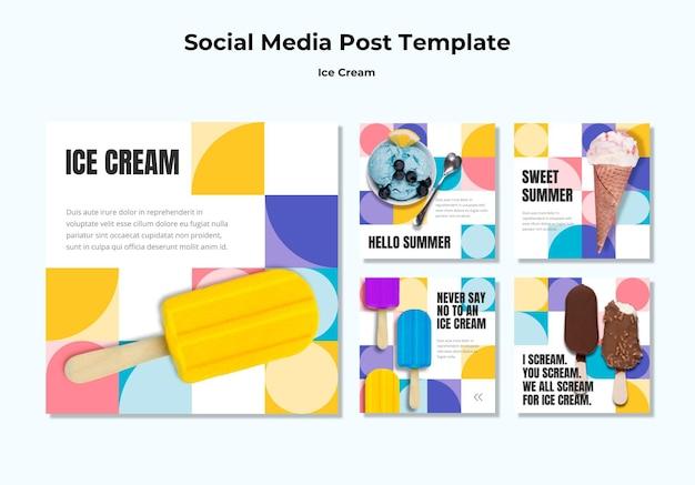 Modelo de postagem de sorvete em mídia social Psd grátis
