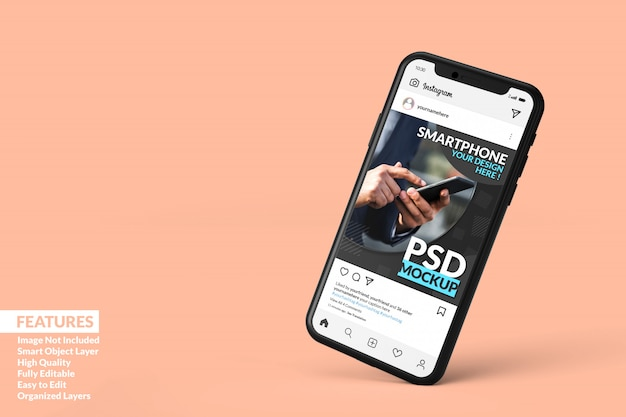 Modelo de postagem do instagram na maquete de celular preto flutuante premium Psd Premium