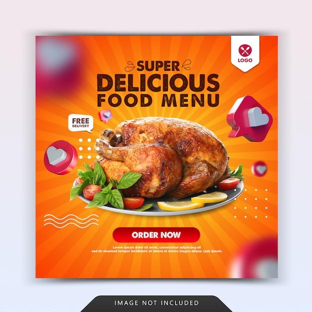 Modelo de postagem do instagram para redes sociais de comida deliciosa Psd Premium