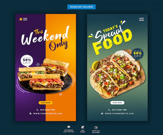 Modelo de postagem do restaurante food menu instagram stories Psd Premium