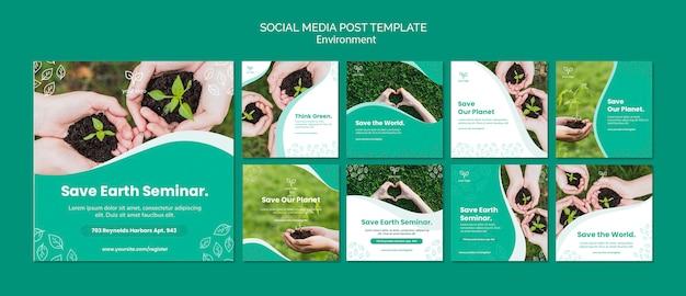 Modelo de postagem do tema ambiente para mídias sociais Psd grátis