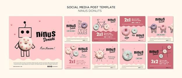 Modelo de postagem - donuts conceito de mídia social Psd Premium