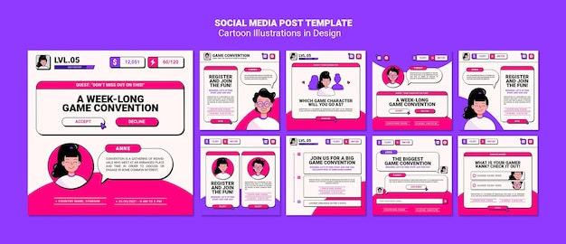 Modelo de postagem em mídia social com ilustrações de desenhos animados Psd grátis