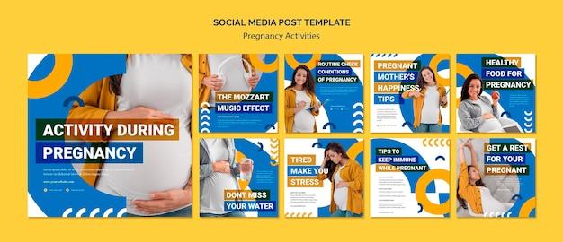 Modelo de postagem em mídia social de atividades de gravidez Psd grátis