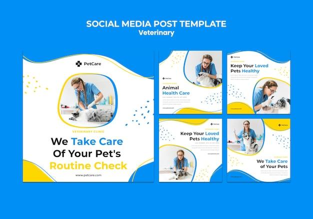 Modelo de postagem em mídia social de clínica veterinária Psd grátis