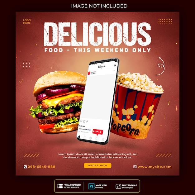 Modelo de postagem em mídia social de comida deliciosa Psd grátis