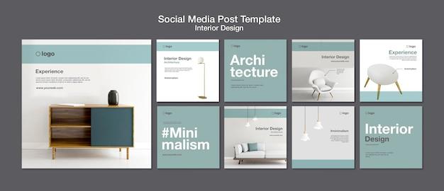 Modelo de postagem em mídia social de design de interiores Psd Premium