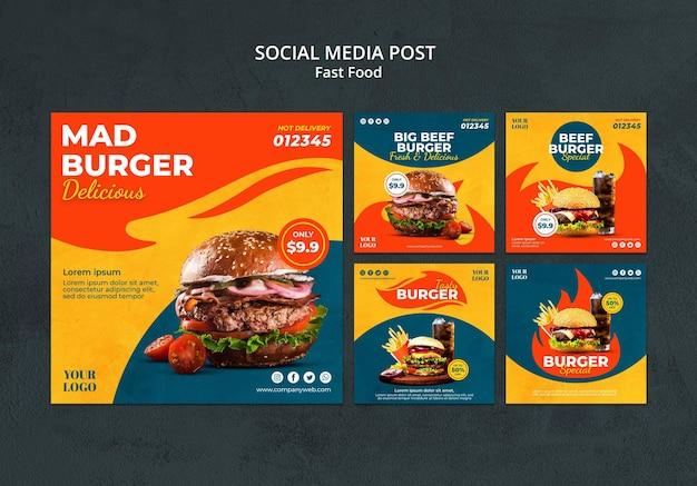 Modelo de postagem em mídia social de fast food Psd Premium