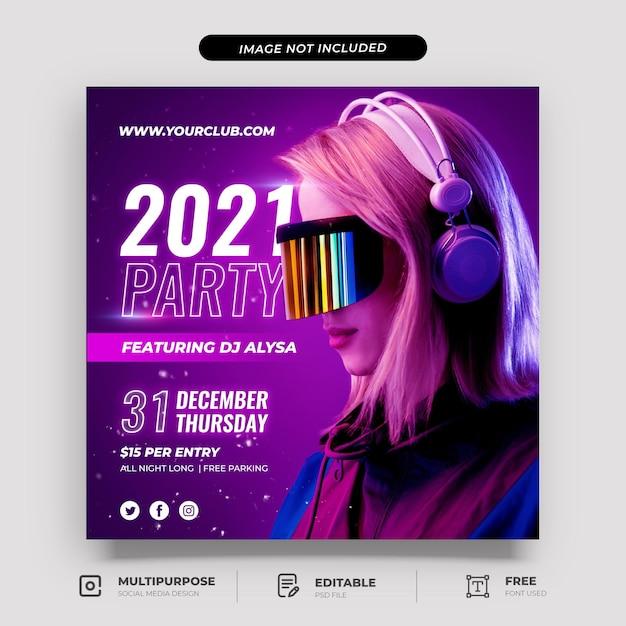 Modelo de postagem em mídia social de gradiente roxo para festa de ano novo Psd Premium
