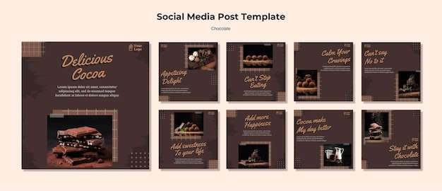 Modelo de postagem em mídia social de loja de chocolate Psd grátis