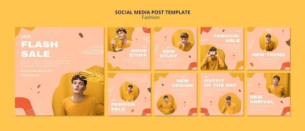 Modelo de postagem em mídia social de moda masculina para venda em flash Psd Premium