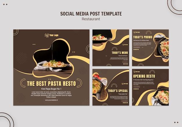 Modelo de postagem em mídia social de restaurante de massas Psd grátis