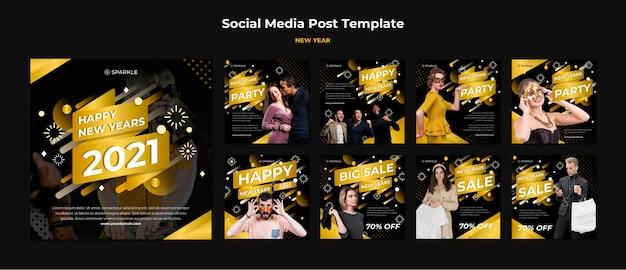 Modelo de postagem em mídia social de venda de ano novo Psd Premium