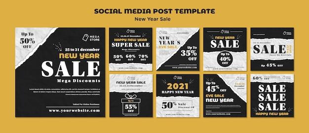 Modelo de postagem em mídia social de venda de ano novo Psd grátis
