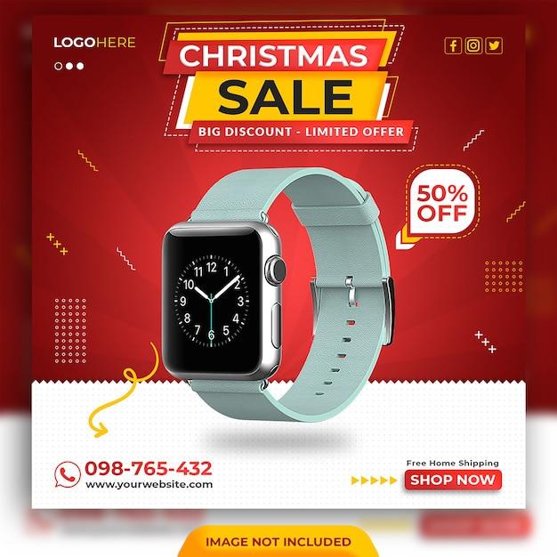 Modelo de postagem em mídia social de venda de natal Psd Premium