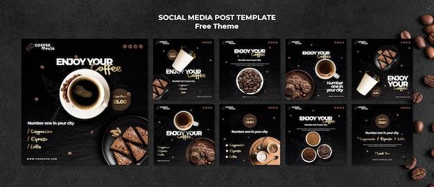 Modelo de postagem em mídia social do conceito de café Psd Premium