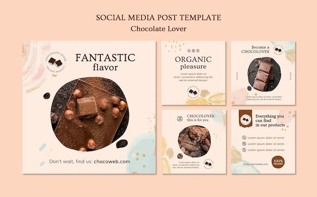 Modelo de postagem em mídia social para amante de chocolate Psd grátis