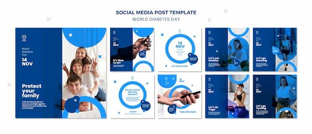 Modelo de postagem em mídia social para o dia mundial da diabetes Psd Premium