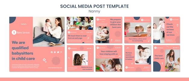 Modelo de postagem em redes sociais de serviços de babá Psd Premium