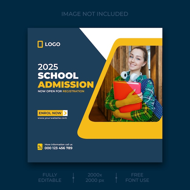 Modelo de postagem - mídia social de admissão na escola Psd grátis