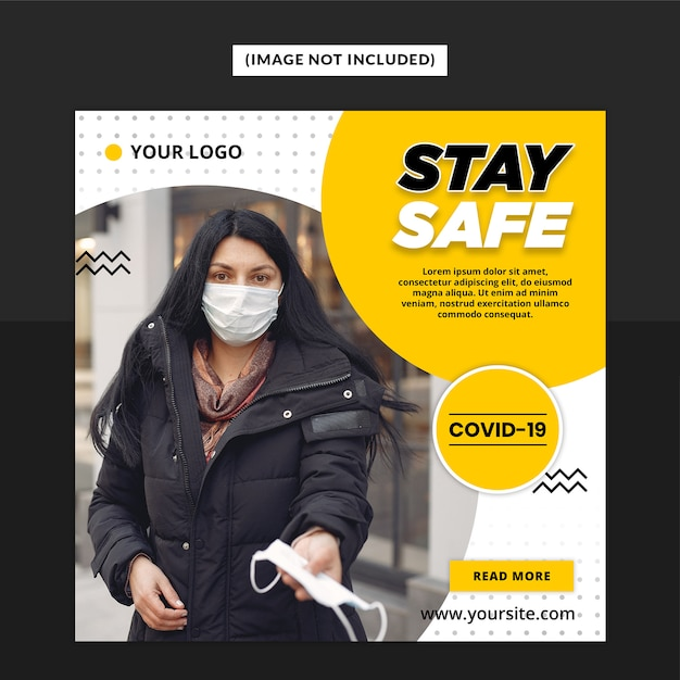 Modelo de postagem - mídia social de aviso de vírus corona Psd Premium