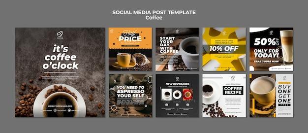 Modelo de postagem - mídia social de café Psd grátis