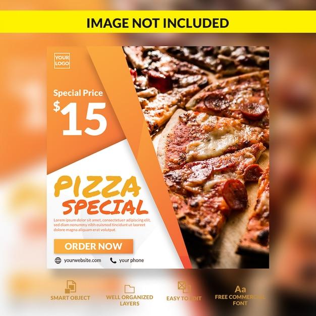 Modelo de postagem - mídia social de oferta especial de pizza Psd Premium