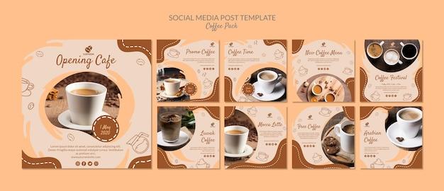 Modelo de postagem - mídia social de pacote de café Psd grátis