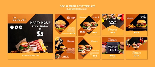 Modelo de postagem - mídia social de restaurante de hambúrguer Psd grátis