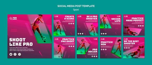 Modelo de postagem - mídia social de treinamento de futebol Psd Premium