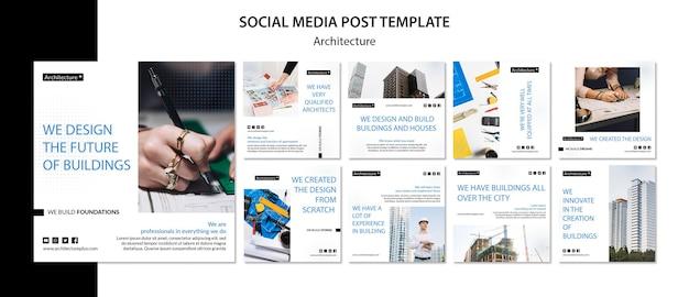 Modelo de postagem - mídia social do conceito de arquitetura Psd Premium