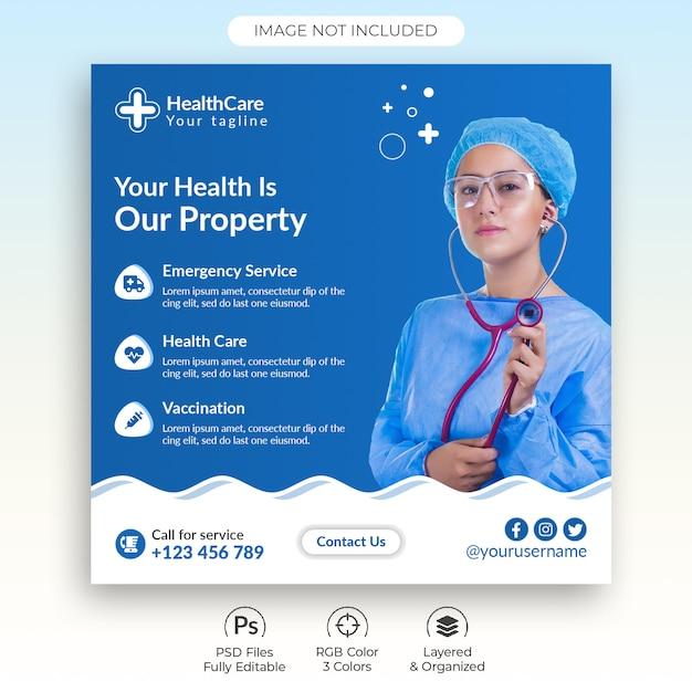 Modelo de postagem - mídia social médica de cuidados de saúde Psd Premium