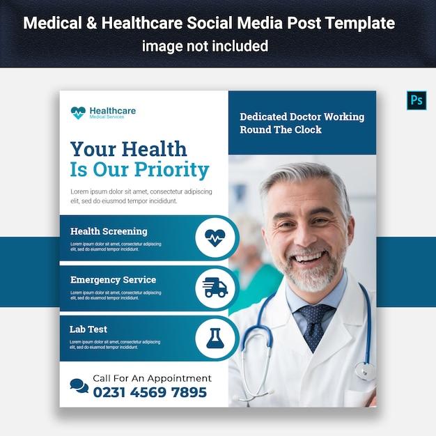 Modelo de postagem - mídia social médica Psd Premium