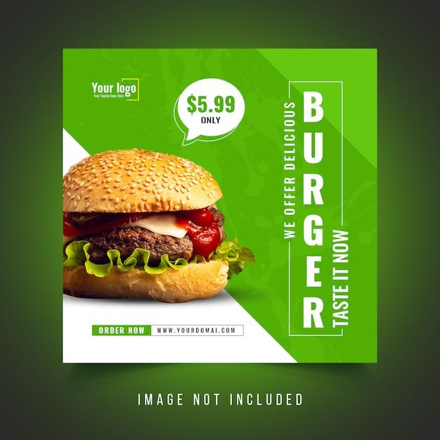 Modelo de postagem - mídia social promocional de comida de hambúrguer Psd Premium